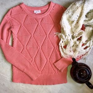 Salmon Color Knit Sweater